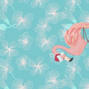 Santa Flamingo Tea Towel