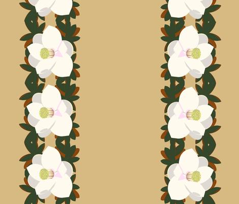 magnolia border-praline fabric by kae50 on Spoonflower - custom fabric