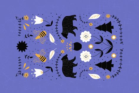Honey Bear Folk Art Tea Towel fabric by arthousewife on Spoonflower - custom fabric