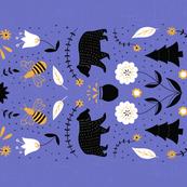 Honey Bear Folk Art Tea Towel