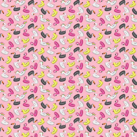 (micro scale) pool floats - all the floats on pink C18BS fabric by littlearrowdesign on Spoonflower - custom fabric