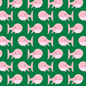 (small scale) whale (pink on green) C18BS