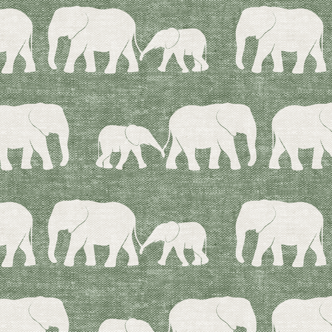 elephants march - sage fabric by littlearrowdesign on Spoonflower - custom fabric