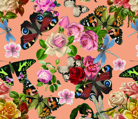 Butterflies and Flowers all over fabric by kwmeredith on Spoonflower - custom fabric