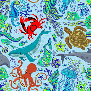 Sea Creatures Octopus Sea Turtle on Blue