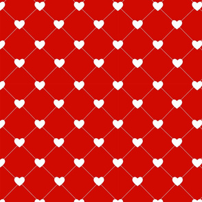 Hearts White Tufted on Red
