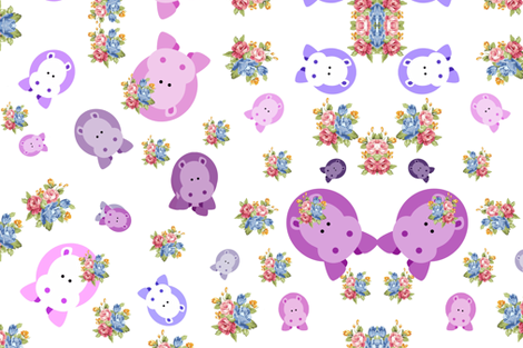 Happy Hippos in the Kitchen fabric by tabasamu_design on Spoonflower - custom fabric