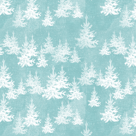 Christmas Pine Forest (ice blue)  fabric by nouveau_bohemian on Spoonflower - custom fabric
