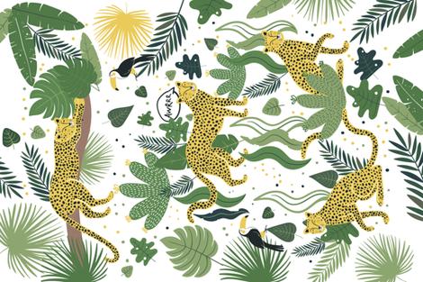Who is hiding in the Jungle? Tea Towel fabric by hala_kobrynska on Spoonflower - custom fabric