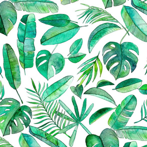 Emerald Tropical Leaf Scatter on White - extra large