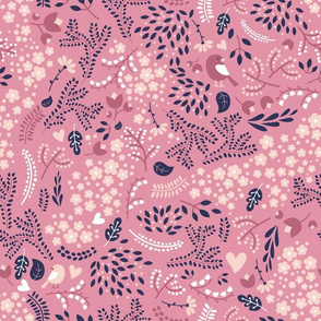 Sleeping Fox - Complementary NAVY Pink