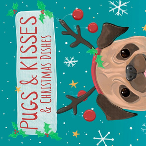 Christmas Pug Tea Towel