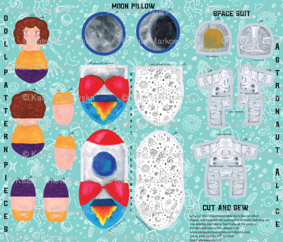 Astronaut Alice Doll in a pocket rocket with a pillow moon