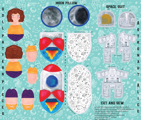Astronaut Alice Doll in a pocket rocket with a pillow moon fabric by stargazingseamstress on Spoonflower - custom fabric