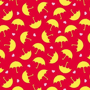 Umbrella love dancing in the rain Scandinavian red yellow