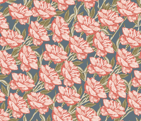 Peony Diagonal Repeat Peach Green on Grey fabric by gingercreations on Spoonflower - custom fabric
