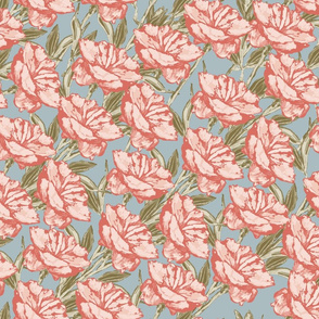 Peony Diagonal Repeat Peach Green on French