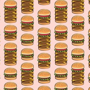 "(1.5"" scale) I love burgers - cookout fabric - pink C18BS"