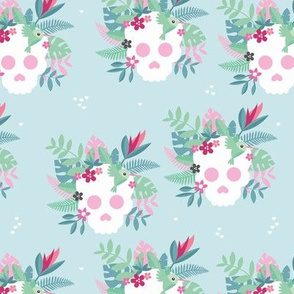 Colorful flowers and skulls sweet botanical leaves halloween pattern blue pink
