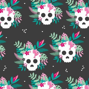 Colorful cranium flowers and skulls sweet botanical leaves halloween pattern charcoal pink green