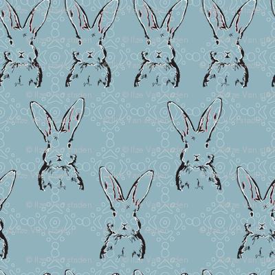 Rabbit Repeat on Blue