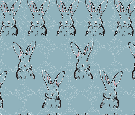 Rabbit Repeat on Blue fabric by gingercreations on Spoonflower - custom fabric