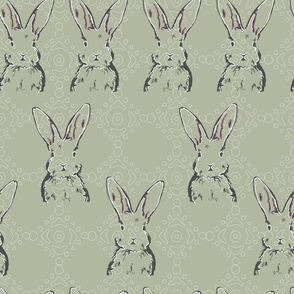 Rabbit Repeat on Vintage Green