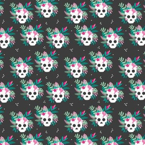Colorful flowers and skulls sweet botanical leaves halloween pattern charcoal pink green SMALL