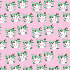 Colorful flowers and skulls sweet botanical leaves halloween pattern pink green SMALL