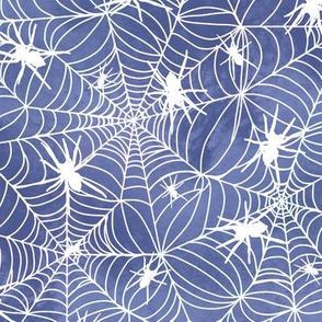 Spiderwebs - white on blue