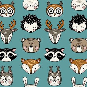 cute woodland animal heads - teal