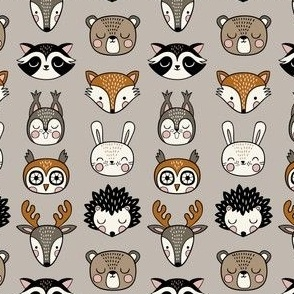 cute woodland animal heads - light grey