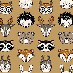 cute woodland animal heads - mustard