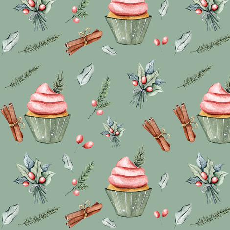 "6"" Festive Cupcakes // Envy Green fabric by hipkiddesigns on Spoonflower - custom fabric"