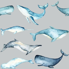 Watercolor Whales // Silver Sand