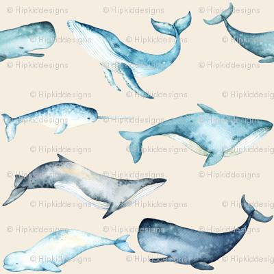 Watercolor Whales // White Linen
