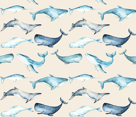 Watercolor Whales // White Linen fabric by hipkiddesigns on Spoonflower - custom fabric