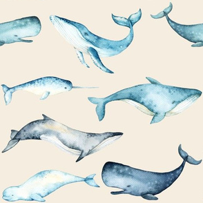 Watercolor Whales // White Linen