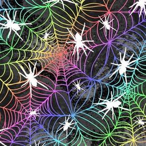 Spiderwebs - rainbow on black