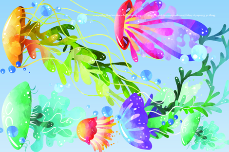 Swimming with the Jellies fabric by kfrogb on Spoonflower - custom fabric