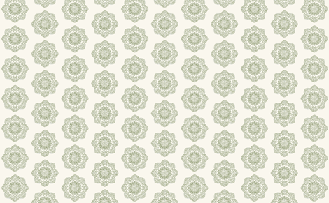 Small olive green medallion on cream offwhite ivory fabric by jenlats on Spoonflower - custom fabric