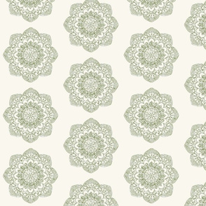 Small olive green medallion on cream offwhite ivory