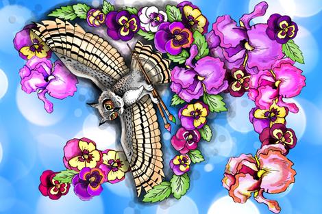 mom's owl tea towel on blue fabric by beesocks on Spoonflower - custom fabric
