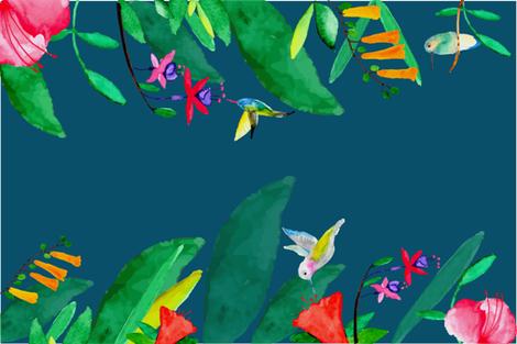 hummingbird teatowel-01 fabric by nataliebee on Spoonflower - custom fabric