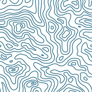 Dark Light Blue and White Stripes Wave Elevation Topographic Topo Map Pattern