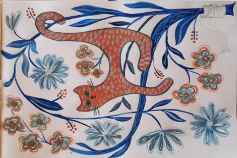 cat on blue tree fabric by belana on Spoonflower - custom fabric