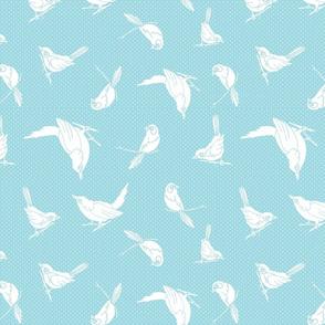 Garden Birds shadows robin egg blue