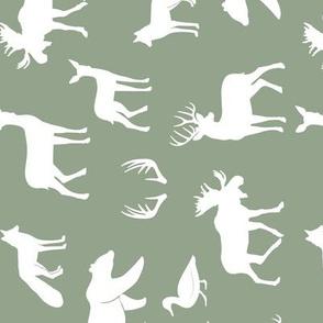 woodland animals on sage (90) C18BS