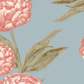 Peonies Vine Peach Green on French