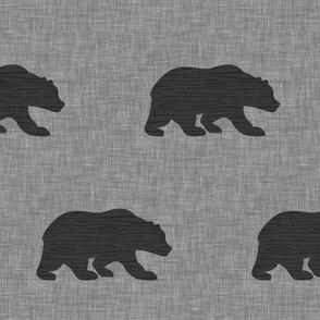 "3"" wood bear - black on grey"